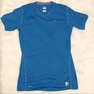 Nike Pro fitted large 12-14 men's blue shirt